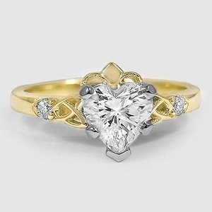18K Yellow Gold Celtic Claddagh Diamond Ring