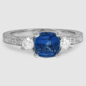 18K White Gold Sapphire Antique Scroll Three Stone Trellis Ring (1/3 ct. tw.)