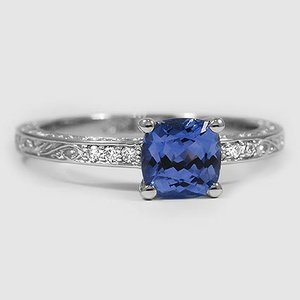 Platinum Sapphire Delicate Antique Scroll Diamond Ring