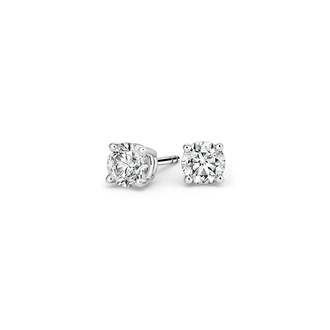 Round Diamond Stud Earrings (1/2 ct. tw.) in 18K White Gold