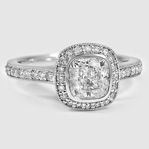 18K White Gold Fancy Bezel Halo Diamond Ring with Side Stones (1/4 ct. tw.)