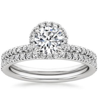 18k white gold waverly diamond bridal set - Diamond Wedding Ring Sets