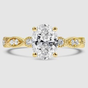18K Yellow Gold Tiara Diamond Ring