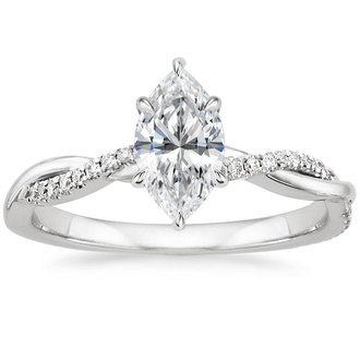 18k white gold petite twisted vine diamond ring - Marquise Wedding Rings