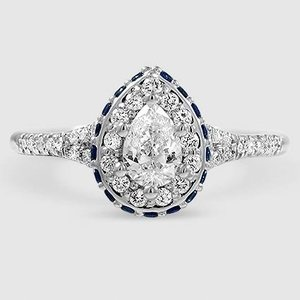 18K White Gold Circa Diamond Ring with Sapphire Accents (1/3 ct. tw.)