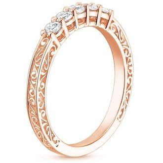 14k rose gold delicate antique scroll five stone diamond ring - Rose Gold Diamond Wedding Ring