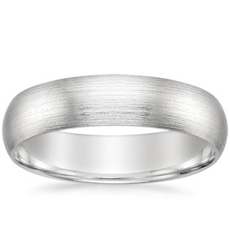 18k white gold 5mm matte comfort fit wedding ring - Wedding Rings Mens