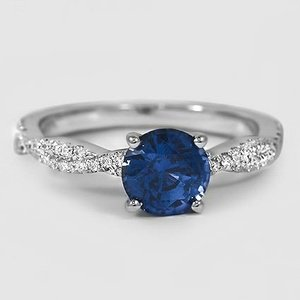 18K White Gold Sapphire Petite Luxe Twisted Vine Diamond Ring (1/4 ct. tw.)