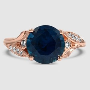 14K Rose Gold Sapphire Jasmine Diamond Ring
