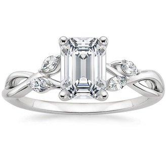 18k white gold willow diamond ring - Emerald Cut Wedding Ring