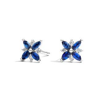 Petal Sapphire and Diamond Earrings in 18K White Gold