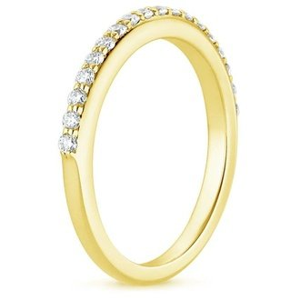 18k yellow gold petite shared prong diamond ring - Yellow Gold Wedding Rings