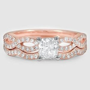 14K Rose Gold Infinity Diamond Ring Matched Set (1/3 ct. tw.)