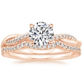 14k rose gold petite twisted vine contoured diamond bridal set - Rose Gold Wedding Ring Sets