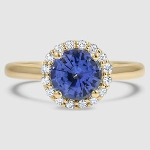 18K Yellow Gold Sapphire Halo Diamond Ring (1/8 ct. tw.)