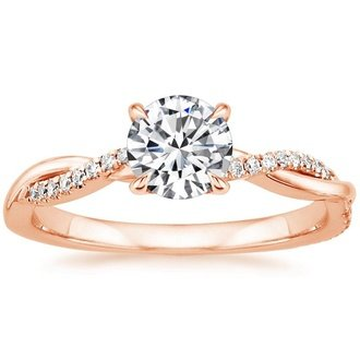 14k rose gold petite twisted vine diamond ring - Rose Gold Wedding Rings For Women