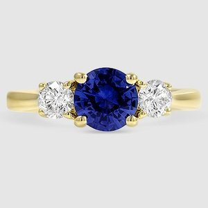 18K Yellow Gold Sapphire Petite Three Stone Trellis Ring (1/3 ct. tw.)