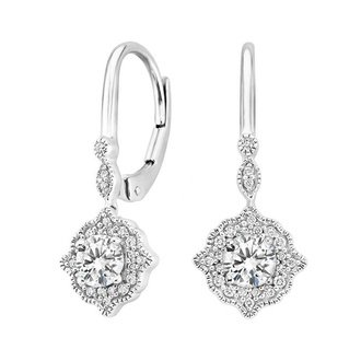 Cadenza Halo Diamond Earrings in 18K White Gold