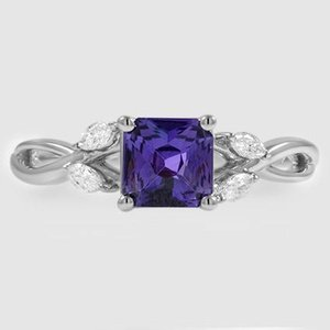18K White Gold Sapphire Willow Diamond Ring (1/8 ct. tw.)