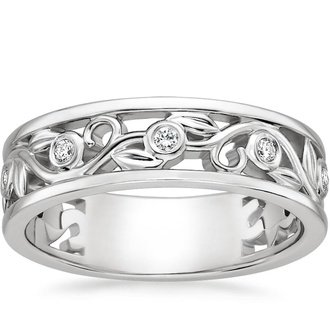 18k white gold leaves and buds diamond ring - Alternative Wedding Rings