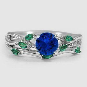 18K White Gold Sapphire Willow Bridal Set With Lab Emerald Accents