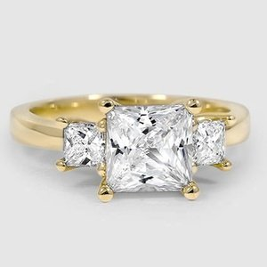 18K Yellow Gold Three Stone Princess Diamond Trellis Ring (1/2 ct. tw.)