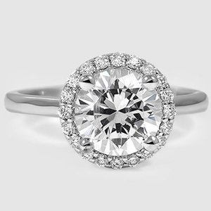 18K White Gold Halo Diamond Ring (1/8 ct. tw.)
