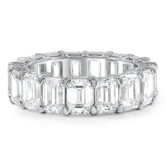 Custom wedding rings brilliant earth emerald cut diamond eternity ring junglespirit Image collections