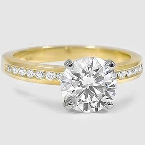 18K Yellow Gold Petite Channel Set Round Diamond Ring