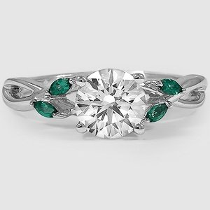 18K White Gold Willow Ring With Lab Emerald Accents