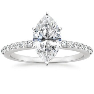 18k white gold petite shared prong diamond ring - Marquise Wedding Rings