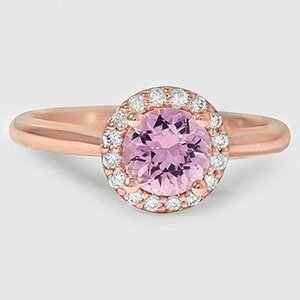 14K Rose Gold Sapphire Halo Diamond Ring (1/8 ct. tw.)