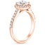 14K Rose Gold Fancy Halo Diamond Ring with Side Stones (1/3 ct. tw.), smallside view