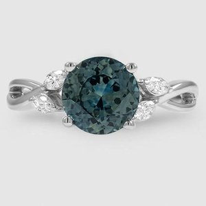 Platinum Sapphire Willow Diamond Ring