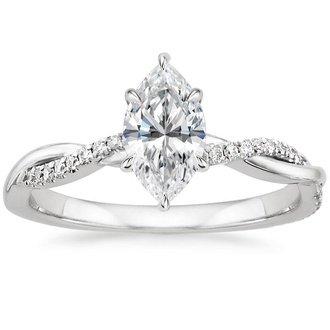 pic 18k white gold petite twisted vine diamond ring - Marquise Wedding Rings