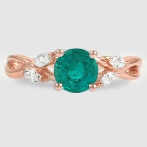 14K Rose Gold Sapphire Willow Diamond Ring (1/8 ct. tw.)