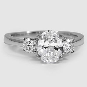 18K White Gold Petite Three Stone Trellis Diamond Ring (1/3 ct. tw.)