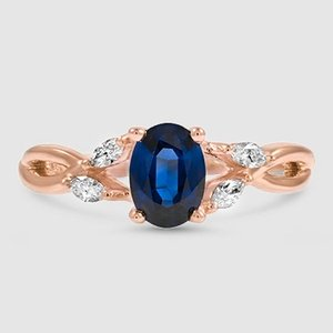 14K Rose Gold Sapphire Willow Diamond Ring