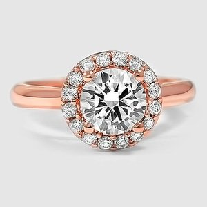14K Rose Gold Halo Diamond Ring (1/8 ct. tw.)
