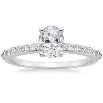 18k white gold petite shared prong diamond ring - Oval Wedding Rings
