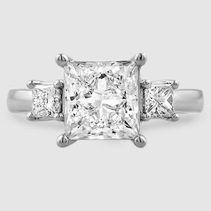 Platinum Three Stone Princess Diamond Trellis Ring (1/2 ct. tw.)