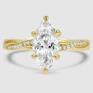 18K Yellow Gold Petite Twisted Vine Diamond Ring