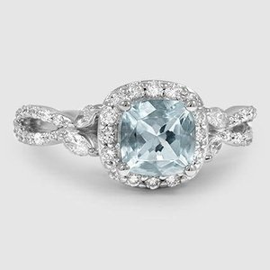18K White Gold Sapphire Luxe Willow Halo Diamond Ring (1/2 ct. tw.)