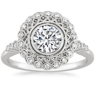 Antique vintage style engagement rings brilliant earth 18k white gold alvadora diamond ring junglespirit Image collections
