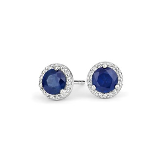 Sapphire Halo Diamond Earrings in Platinum