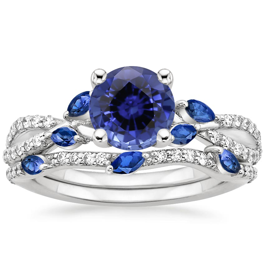 18KW Sapphire Luxe Willow Sapphire and Diamond Bridal Set (1/4 ct. tw.), top view