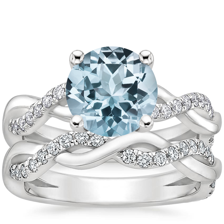 18KW Aquamarine Braided Vine Diamond Bridal Set (1/2 ct. tw.), top view