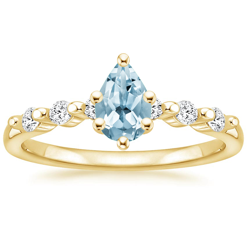 Yellow Gold Aquamarine Petite Marseille Diamond Ring (1/6 ct. tw.)