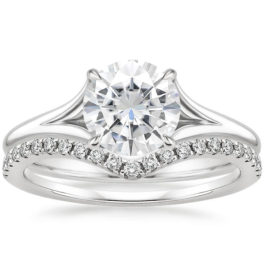 18KW Moissanite Reverie Ring with Flair Diamond Ring (1/6 ct. tw.), top view
