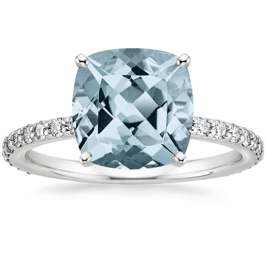 Aquamarine Luxe Petite Shared Prong Diamond Ring (1/3 ct. tw.) in 18K White Gold